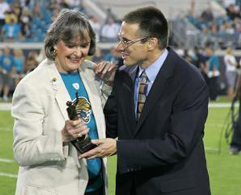 Delores Barr Weaver, co-owner of the Jacksonville Jaguars and Chair/CEO of the Jacksonville Jaguars Foundation and Peter Racine, Executive Director, Jacksonville Jaguars Foundation.
